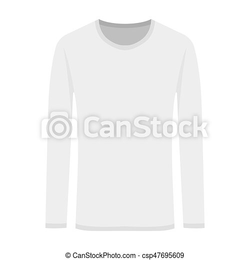 8e9a2fea6ed2 Vector illustration of white long-sleeved in flat style - csp47695609