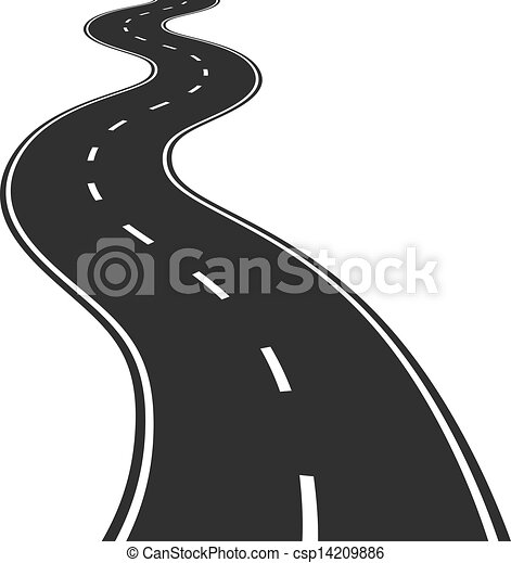 Vector illustration of winding road.