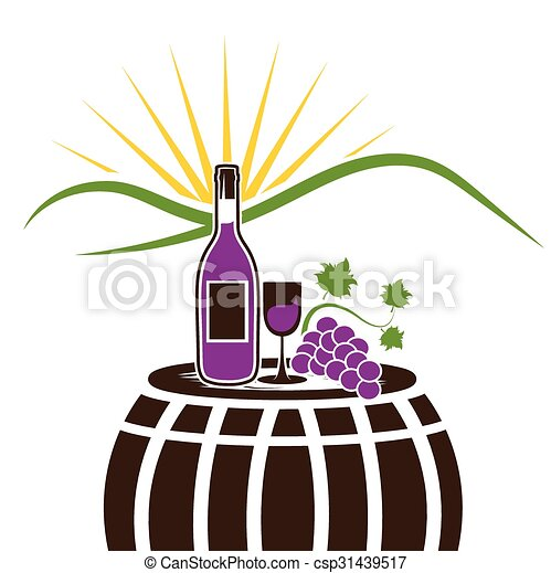 vector illustration of wine bottle wineglass and grape on vector rh canstockphoto com