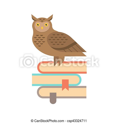 Vector Illustration Of Wise Owl Sitting On The Stack Books Education And Knowledge Concept