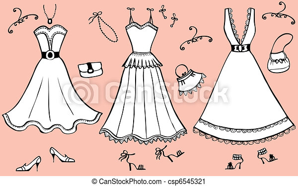 Vector illustration of woman dress and accessories. - csp6545321