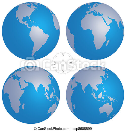 Vector illustration of world globe maps and compass eps vectors
