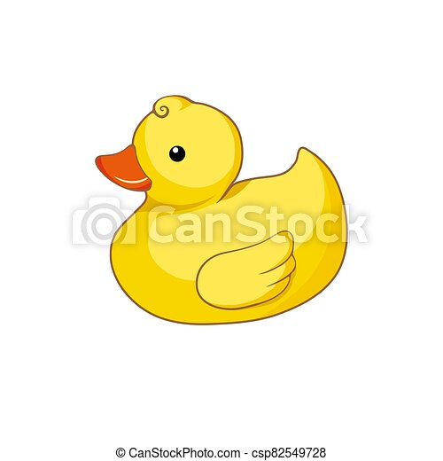 Vector illustration of yellow duck  isolated on white background - csp82549728