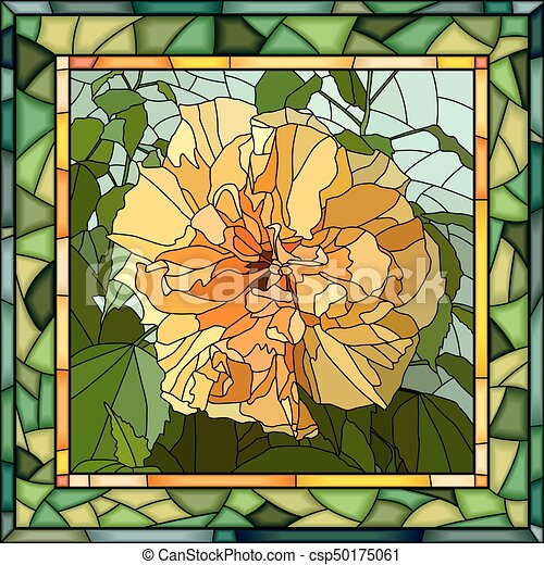 Vector Illustration Of Yellow Hibiscus Chinese Rose Vector Mosaic