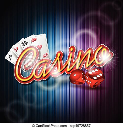 Vector illustration on a casino theme with poker card and dices on dark background. EPS 10 design - csp49728857