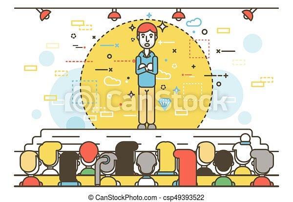 Vector illustration orator spokesman spokesperson speaker crossed arms businessman rhetor politician speech speaking stage audience business presentation spitch line art linear style - csp49393522