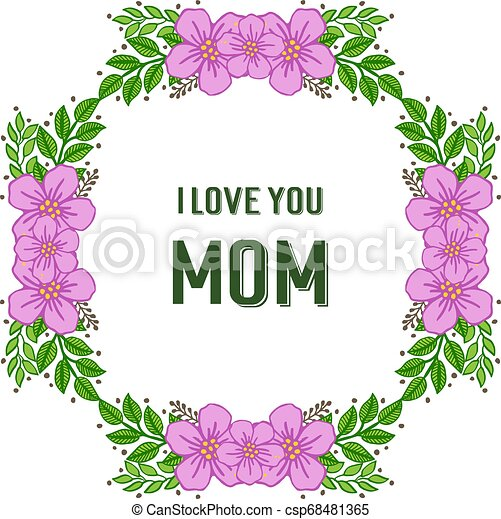 Vector illustration ornate of purple wreath frame with banner i love you mom - csp68481365