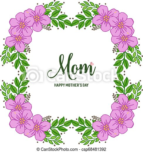 Vector illustration ornate of purple wreath frame with banner i love you mom - csp68481392