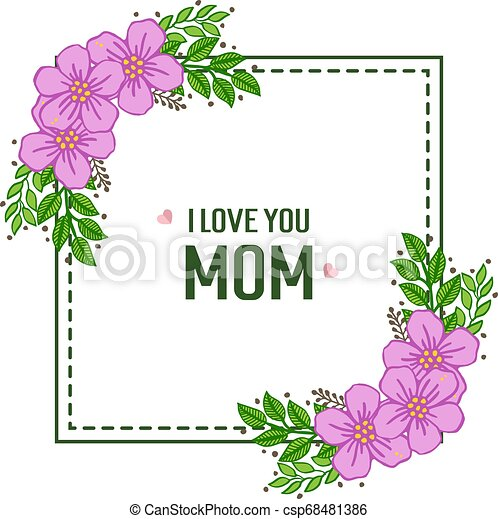 Vector illustration ornate of purple wreath frame with banner i love you mom - csp68481386