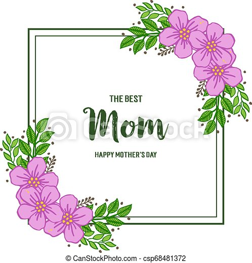 Vector illustration ornate of purple wreath frame with banner i love you mom - csp68481372