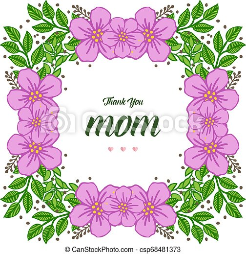 Vector illustration ornate of purple wreath frame with banner i love you mom - csp68481373