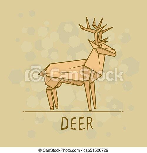 Vector Illustration Paper Origami Of Deer