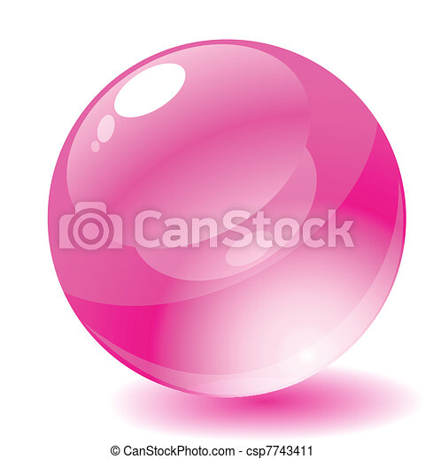 Vector illustration. Pink glossy circle web button. - csp7743411