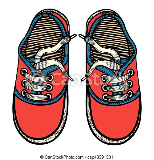 Vector illustration red and blue sports sneakers - csp43391331
