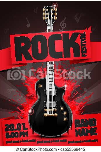 Vector Illustration Red Rock Festival Party Flyer Design Template With Guitar Origami Banner And Cool Splash Effects In The