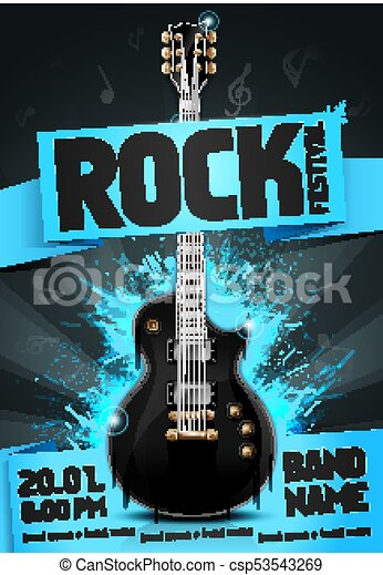 Vector Illustration Rock Festival Flyer Design Template With Guitar Cool Glow Effects And Notes Template For Poster Fyler