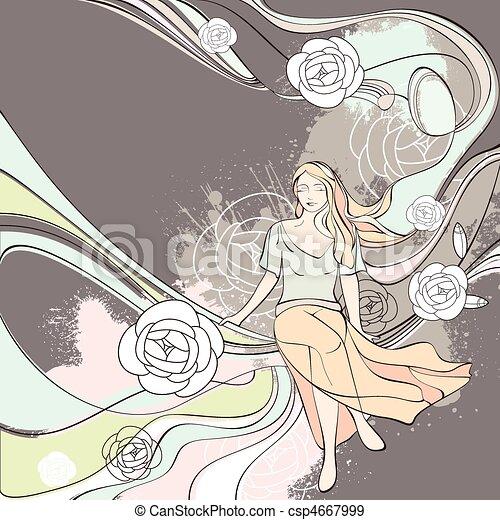 vector illustration romantic card - csp4667999