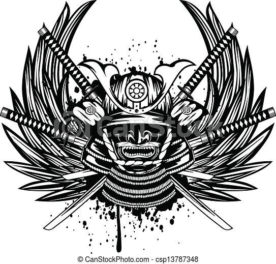 Vector illustration samurai helmet, menpo with yodare-kake, crossed katana and wings - csp13787348