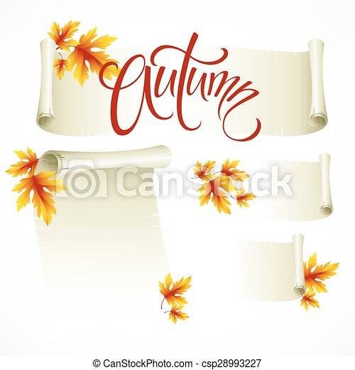 Vector illustration - scroll frame from autumn leaves - csp28993227