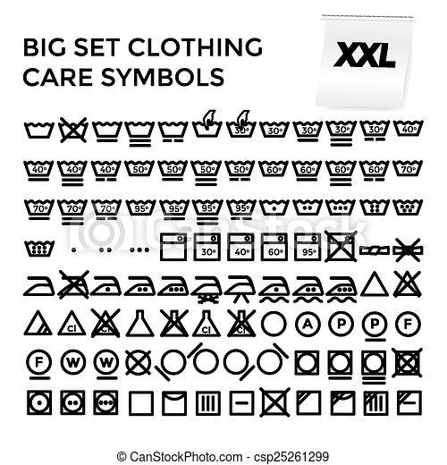 Vector Illustration Set Clothing Care Symbols Vector Illustration