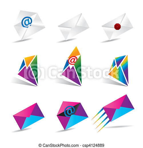 Vector illustration set of 9 email  - csp4124889