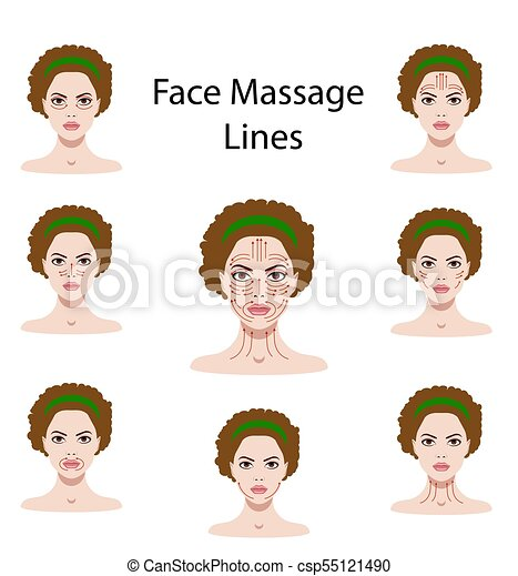 Vector Illustration Set Of Face Massage Instructions Isolated On The