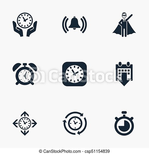 Elements Clock Direction Date Block And Other Synonyms Reminder Bell Compatibility Vector Illustration Set Of Simple Management Icons