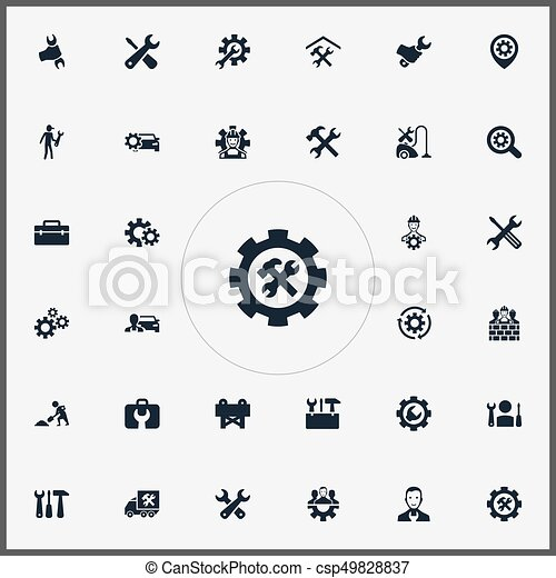 Vector Illustration Set Of Simple Fixing Icons. Elements Refit, Toolbox, Workman And Other Synonyms Van, Toolkit And Caution. - csp49828837