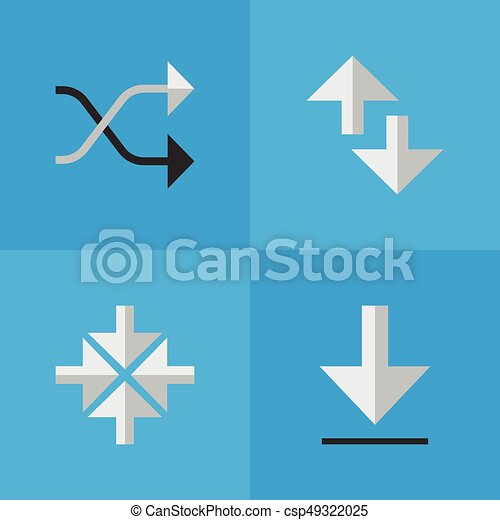 Vector Illustration Set Of Simple Pointer Icons  Elements Cursor,  Chaotically, Loading And Other Synonyms Inwardly, Arrow And Download