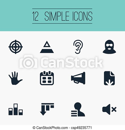 Vector Illustration Set Of Simple Impasse Icons Elements Aim Palm Reminder And Other Synonyms