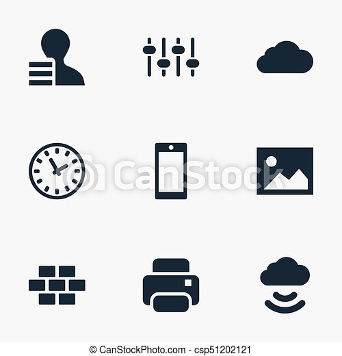 Vector Illustration Set Of Simple Web Icons. Elements Printer, Designer, Picture And Other Synonyms Bricks, Option And Print. - csp51202121