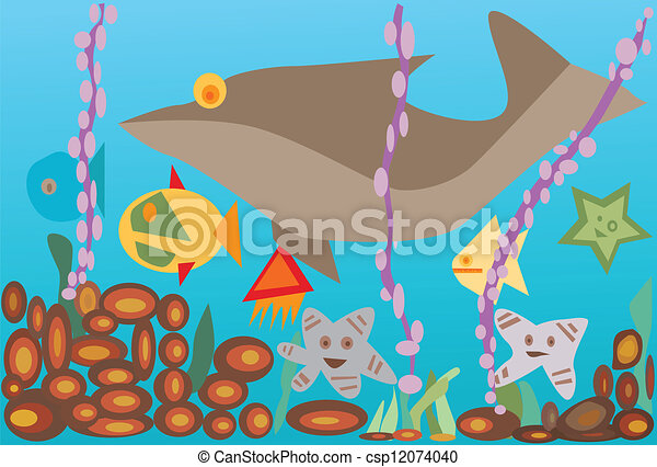 Vector illustration undersea with fishes - csp12074040