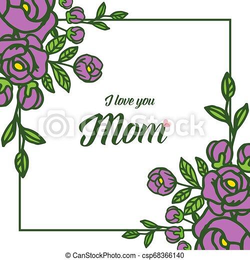 Vector illustration various ornate of purple rose flower frame with lettering i love you mom - csp68366140