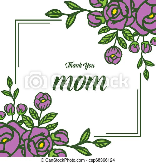 Vector illustration various ornate of purple rose flower frame with lettering i love you mom - csp68366124