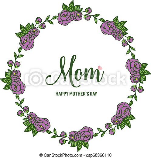 Vector illustration various ornate of purple rose flower frame with lettering i love you mom - csp68366110