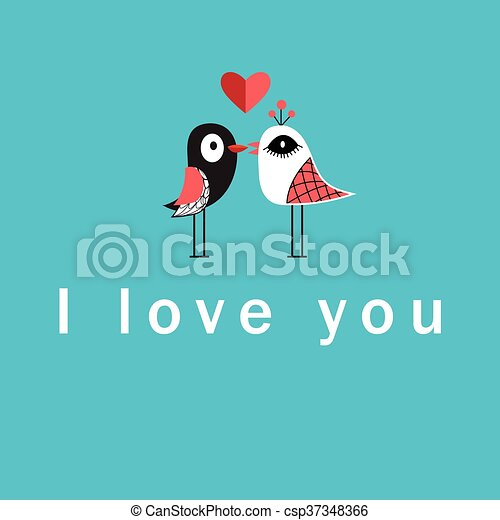 Vector illustration with birds in love - csp37348366