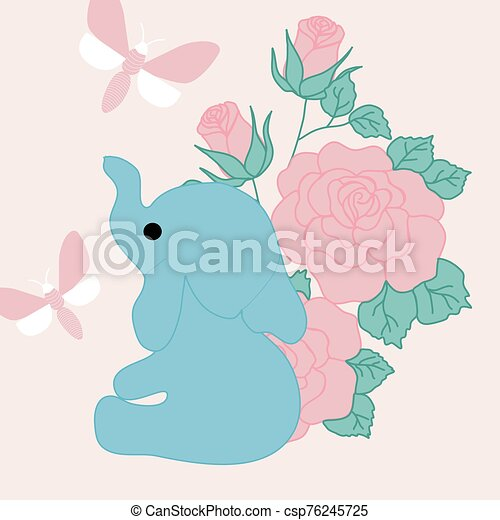 vector illustration with cute elephant, pink roses and butterfly - csp76245725