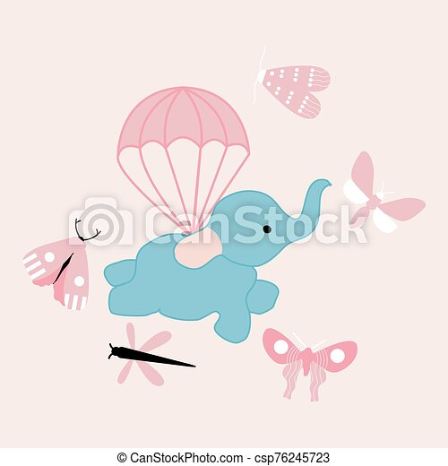 vector illustration with cute flying elephant - csp76245723
