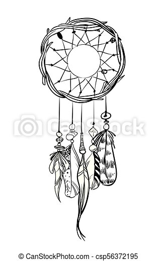 Vector Illustration With Hand Drawn Dream Catcher Feathers Eps Magnificent Drawn Dream Catchers