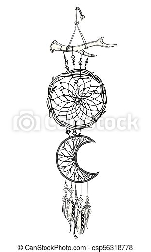 Vector Illustration With Hand Drawn Dream Catcher Feathers And Enchanting Drawn Dream Catchers