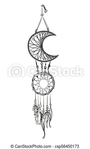 Vector Illustration With Hand Drawn Dream Catcher Feathers And Beauteous Drawn Dream Catchers