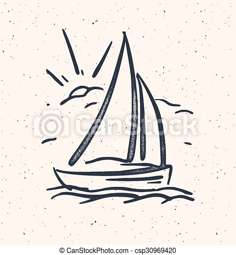 Vector illustration with hand drawn sail boat. Isolated. - csp30969420
