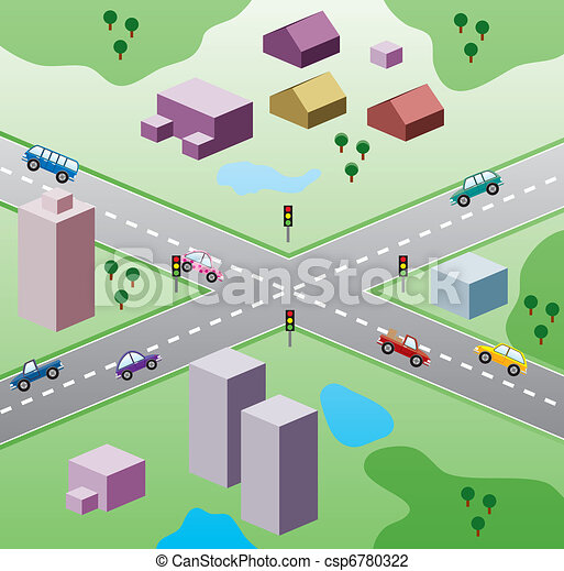 vector illustration with houses, and cars on the road  - csp6780322