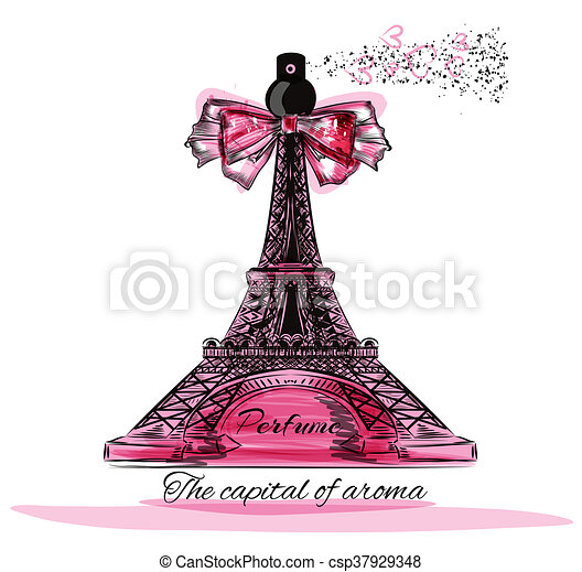Vector illustration with perfume bottle in shape of Eifel tower Paris is the capital of aroma - csp37929348