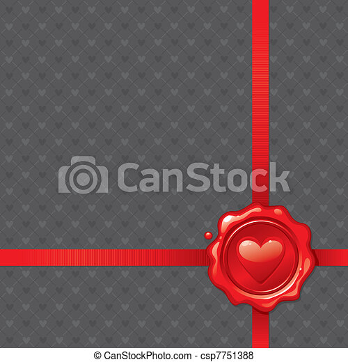 Vector illustration with Valentines sealing wax stamp - csp7751388