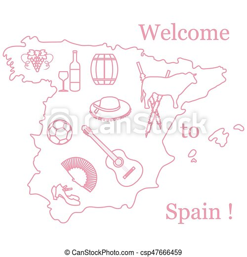 Vector Illustration With Various Symbols Of Spain Travel And