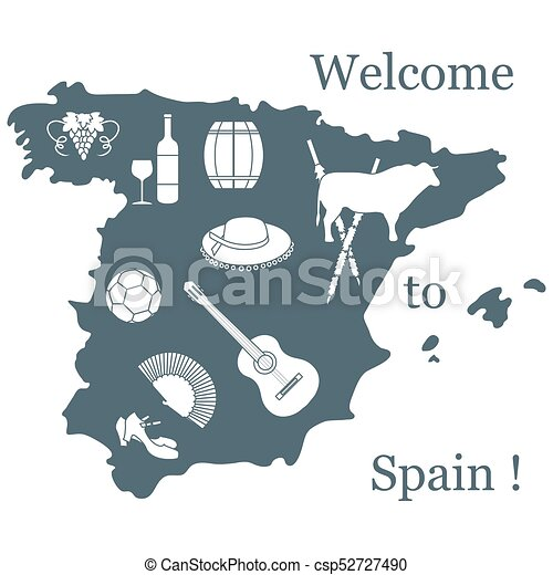 Vector Illustration With Various Symbols Of Spain Travel Eps