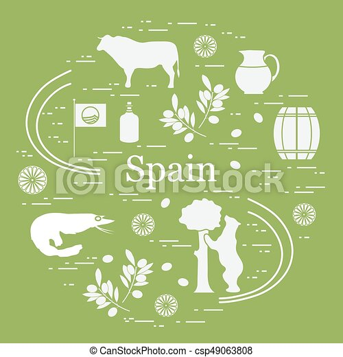 Vector Illustration With Various Symbols Of Spain Arranged Vector