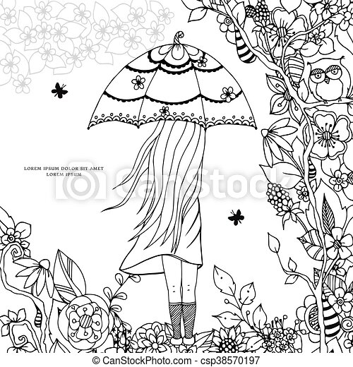 EPS Vectors Of Vector Illustration Zen Tangle A Girl With An