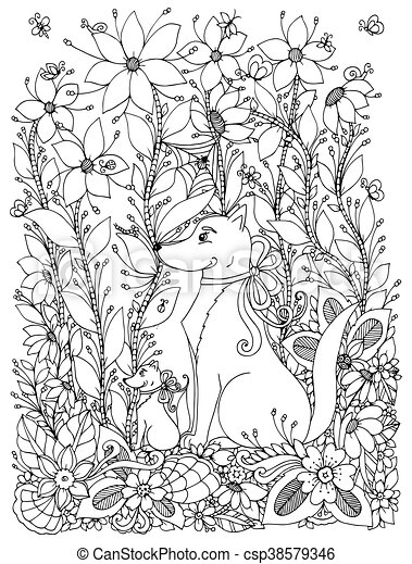 Vector illustration Zen Tangle dog and puppy sitting in the flowers. Doodle  garden, spring. Coloring book anti stress for adults. Black and white.